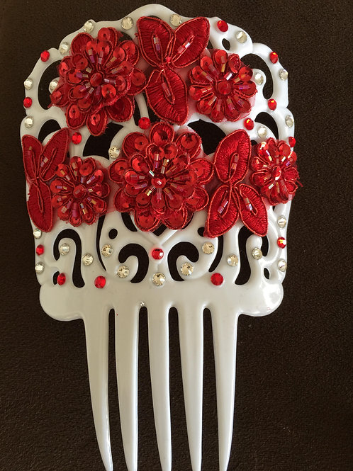 White Hair Comb / Peineta with Red and Clear Crystal and Red Applique
