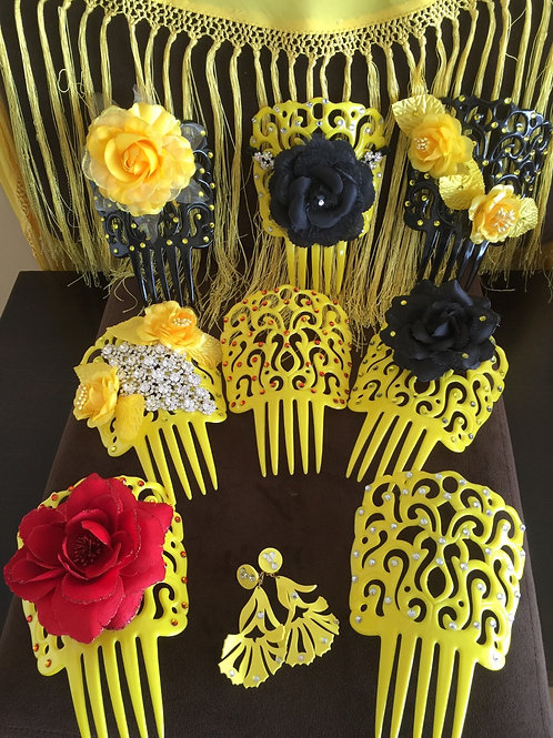 All Yellow Flamenco hair combs with crystals and some with flowers