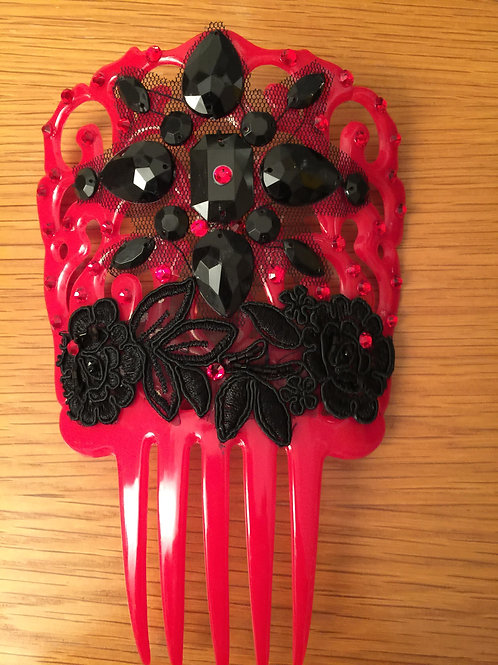 Red Hair Comb / Peineta with Black Applique/Crystals