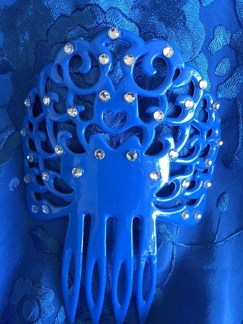 Blue Flamenco Alegria hair comb / peineta with crystals