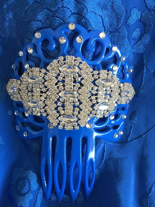 Blue Flamenco Hair Comb/ Peineta with Crystals