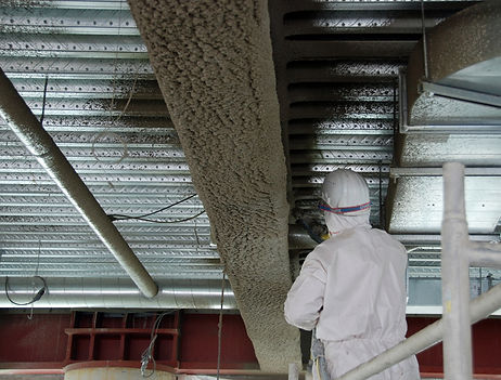 Installation of fireproof spray on a column