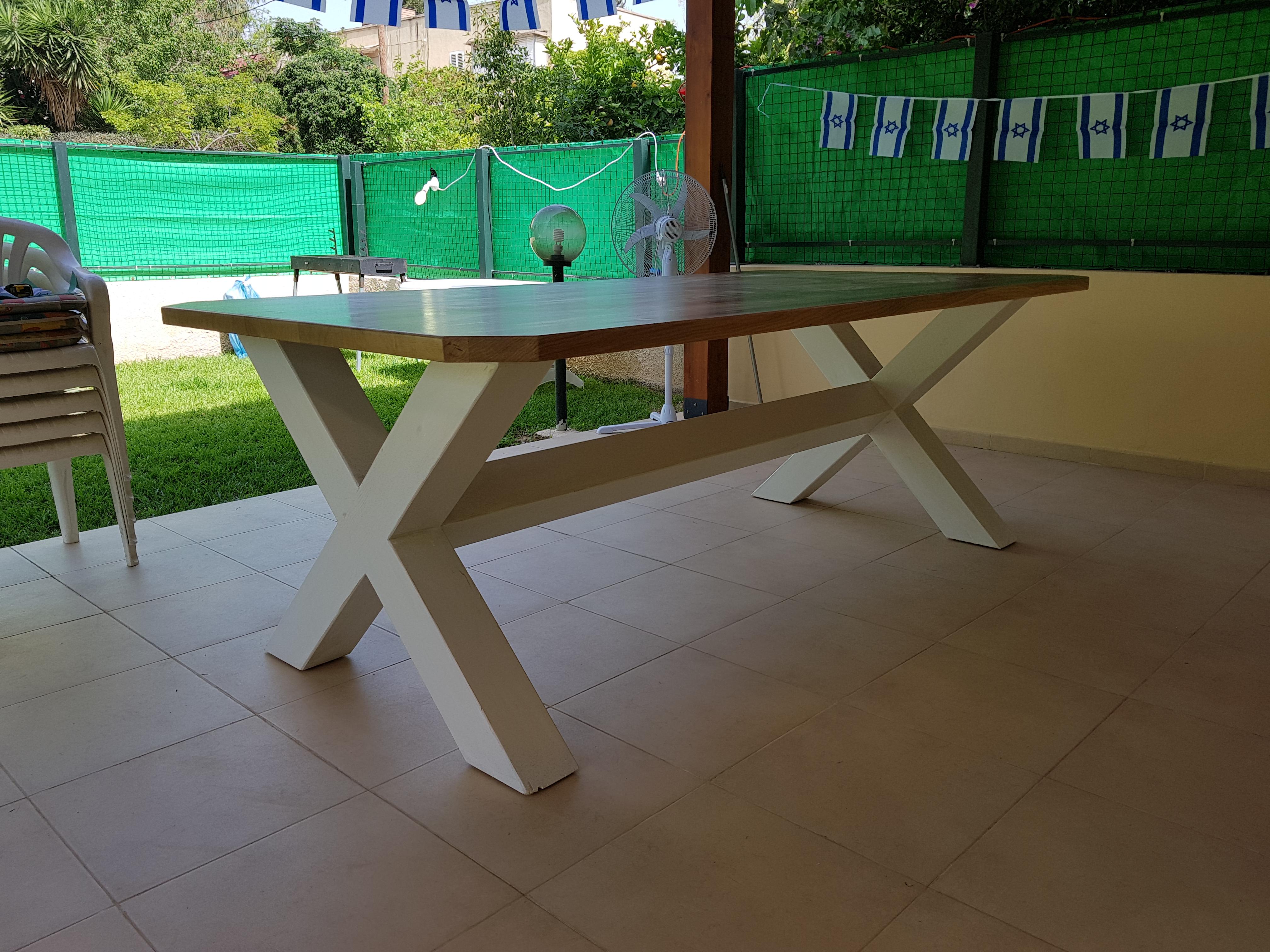 שולחן כפרי משולב רגלי אקס ופלטה אלון