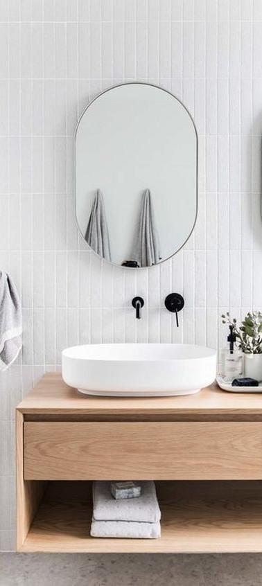 ארונית אמבטיה צפה מעץ משולב מגירות אינטגרליות