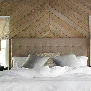 חיפוי קיר חדר שינה בעץ אורן