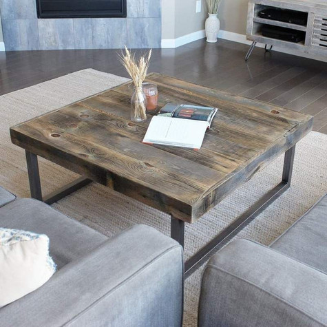 שולחן סלון ברזל ועץ