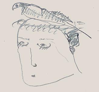 drawing bird on head