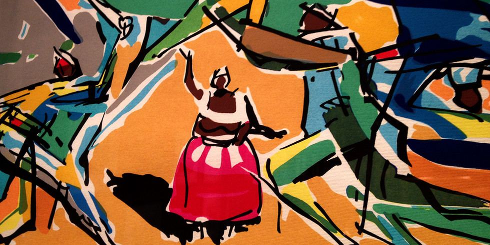 Detalhe da obra na Exposicão   Serigrafia de Caribé