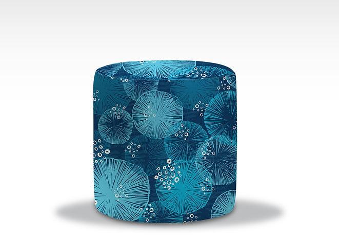 Blue round ottoma