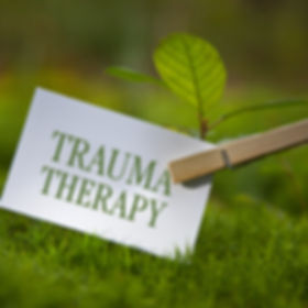 The word _Trauma Therapy_ with a seedlin