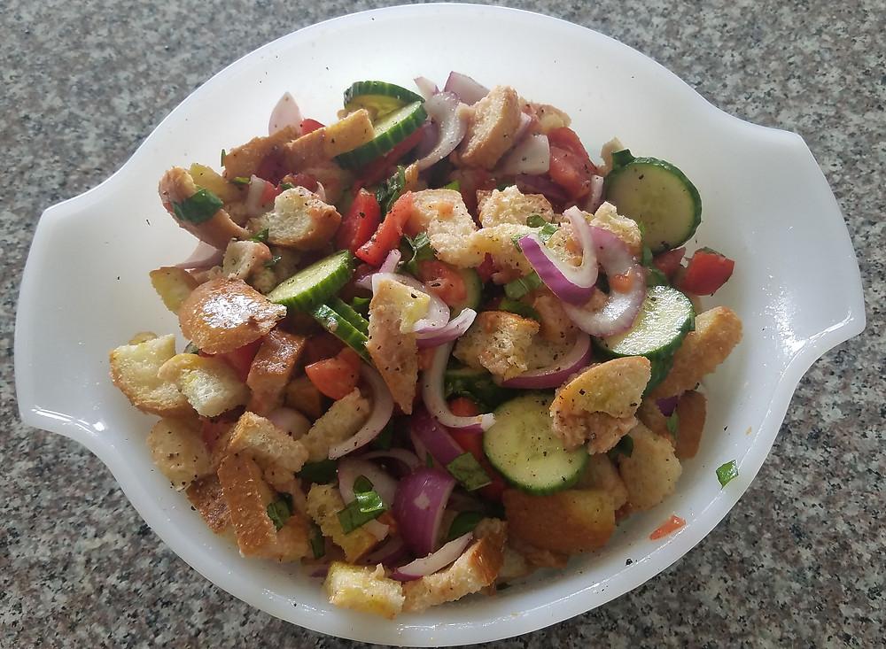 Garden fresh panzanella salad ready to serve!