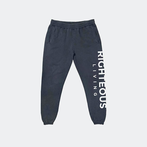 """RIGHTEOUS LIVING """"BOLD"""" VINTAGE BLACK FRENCH TERRY SWEATPANT"""