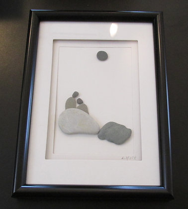 Enjoying the Moon and Each Other,   Framed Wall Hanging by Artisan Lisa Holt