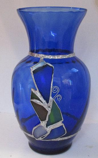 Embellished Vase with Seaglass