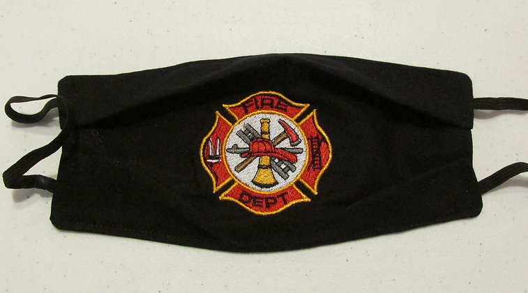 Fire Department Embroidered Face Mask by Artisan May Bouchard