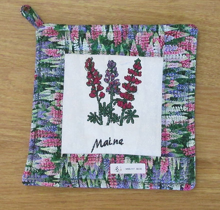 Embroidered Lupine Pot Holder by Artisan May Bouchard