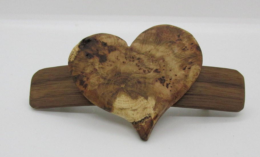 Heart Burl Barrette