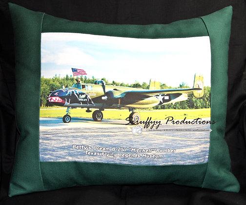 Bettys Dream B25J Warbird Pillow by Artisan Bob Hirshberg