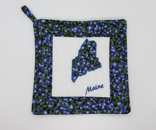 Embroidered State of Maine Blueberry Pot Holder by Artisan May Bouchard