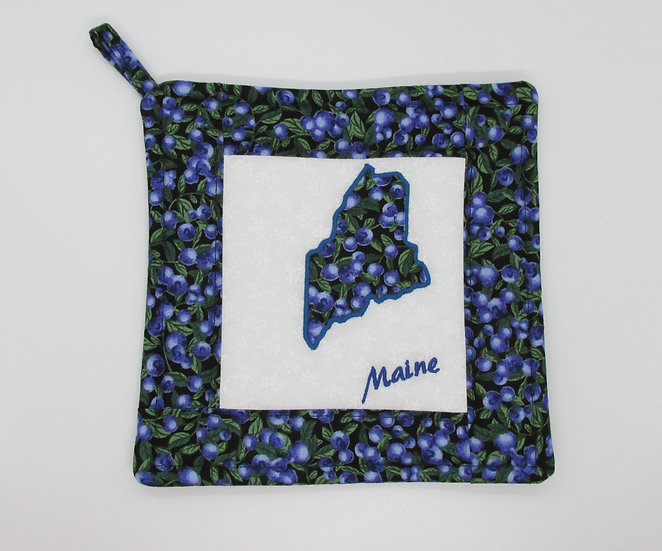 Embroidered State of Maine Blueberry Pot Holder