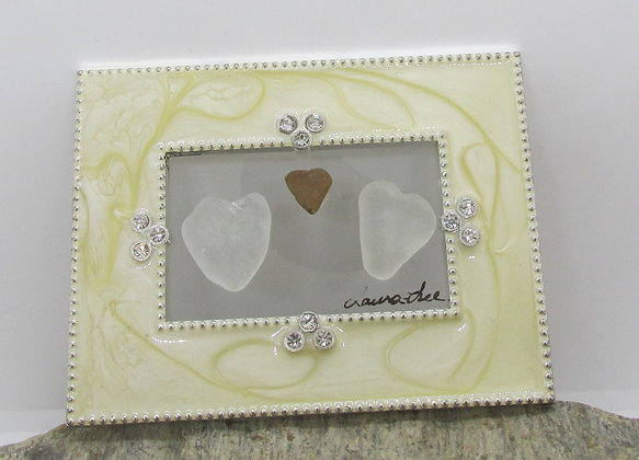 Framed Sea glass Hearts