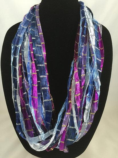 Blueberry Twist Ribbon Necklace
