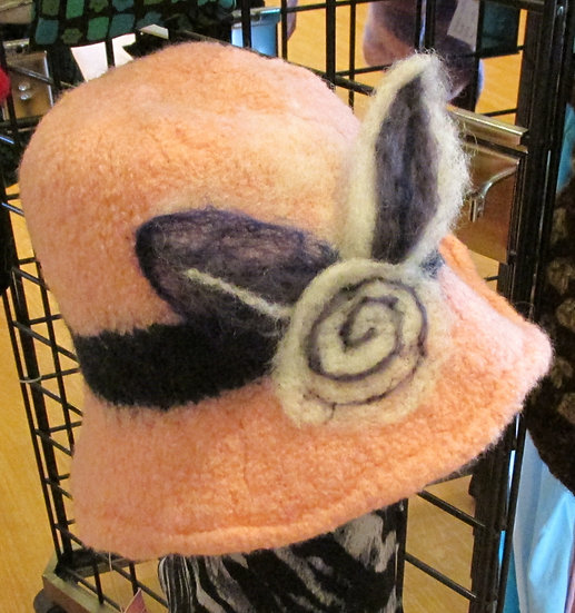 Peach Passion Handmade Felted Wool Hat