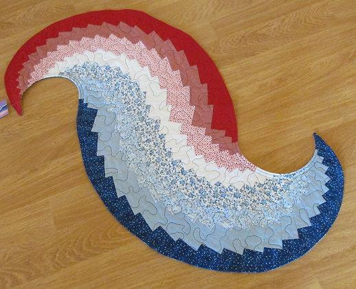 Reversible Patriotic Spiral Runner by Artisan May Bouchard