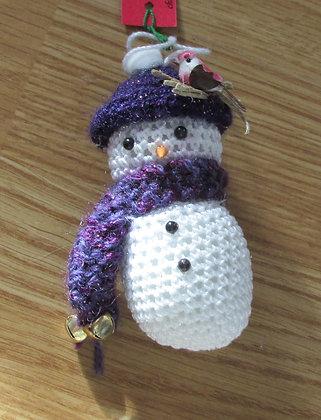 Hand Crochet Snowman Ornament