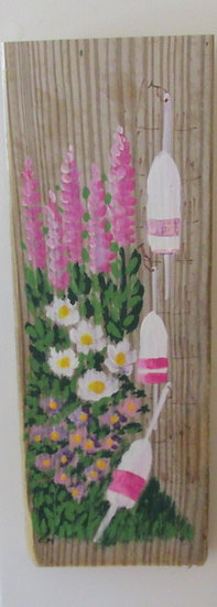 Shades of Pink 4 Hand Painted on Driftwood