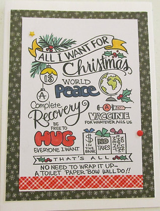 Paper Hug Covid Christmas Card by Artisan Marilyn Parker