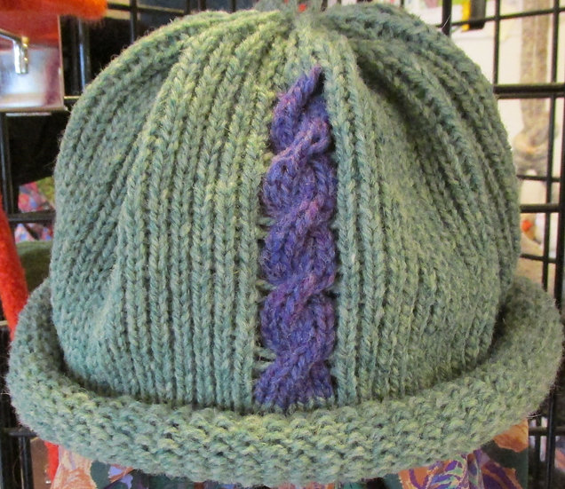 Green Heather Rolled Brim Wool Hat with Cable