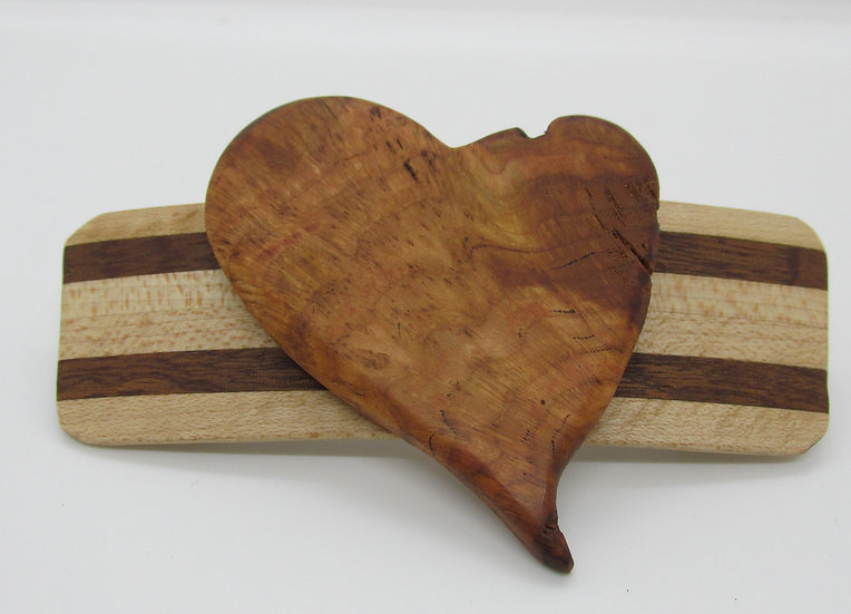 Burl Heart Barrette