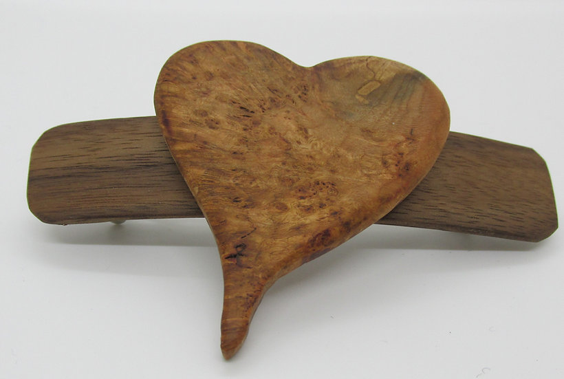 Heart Burl Barrette