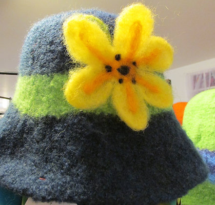 Bee Lovers Delight Handmade Felted Wool Hat by Artisan May Bouchard