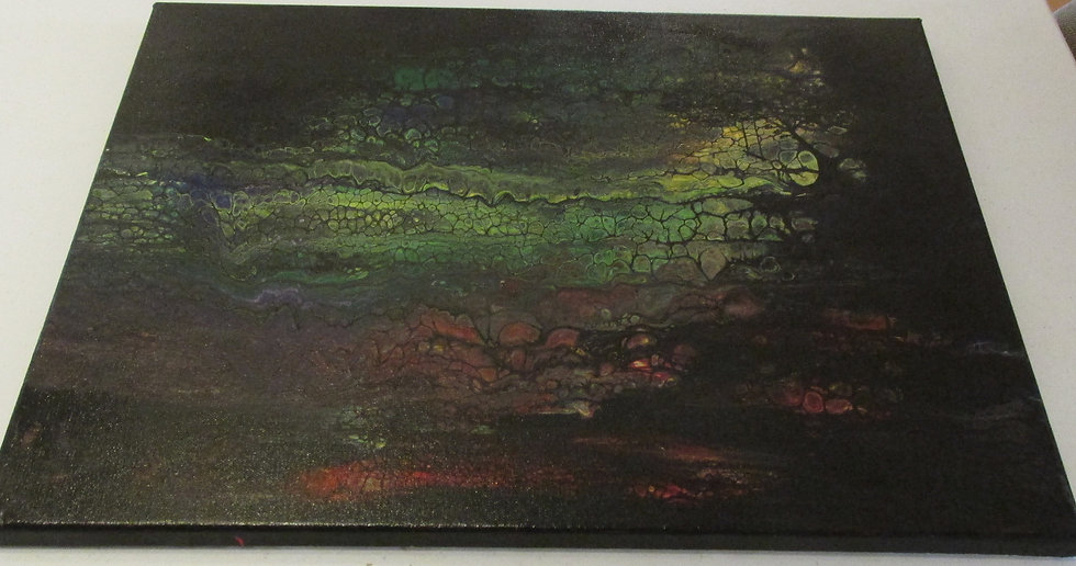 """Hidden Tree and Swing"" Poured Acrylic Art"