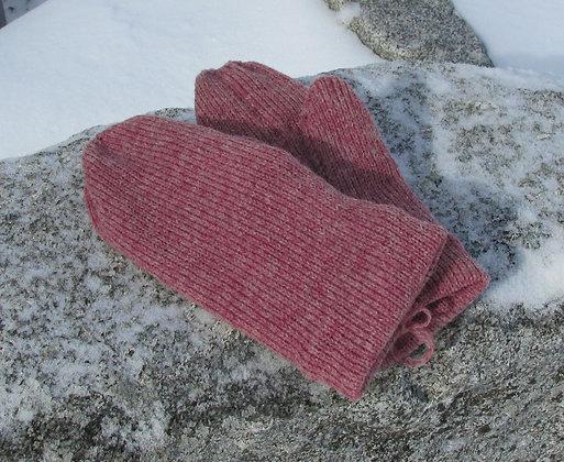 Burgandy Heather Fleece lined Wool Mittens