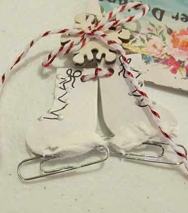 Ice Skates Holiday Pin by Artisan Marilyn Parker