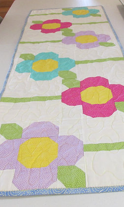Spring Flowers Reversible Table Runner by Artisan May Bouchard