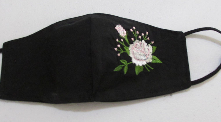 Embroidered Flower Cotton Face Mask by Artisan May Bouchard