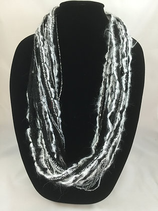 Winter Black Sparkle Plush Necklace by Artisan Jane Arey