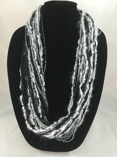 Winter Black Sparkle Plush Necklace