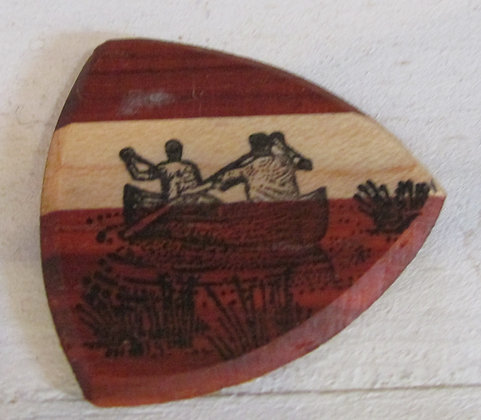 Canoe Wooden Guitar Pick by Artisan Chris Gray