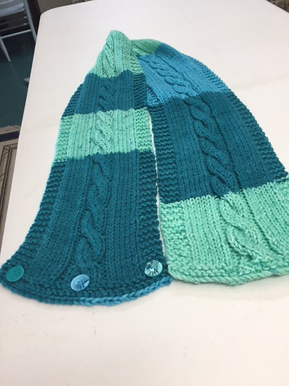 Handknit Scarf or Cowl with cable in center