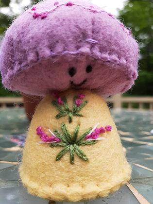 Lavender  Embroidered  Mushroom by Artisan Kathy Beauregard