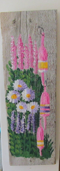 Shades of Pink 2 Hand Painted on Driftwood