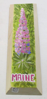 Pink blend Lupine Hand Painted on Driftwood by Artisan Candace McKellar