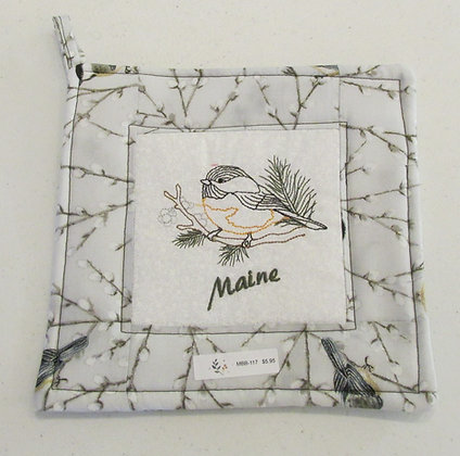 Embroidered Maine Chickadee Pot Holder by Artisan May Bouchard