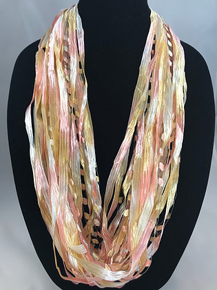 Just Peachy Ribbon Necklace by Artisan Jane Arey
