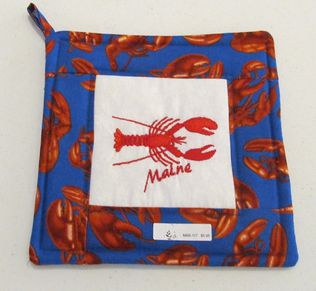 Embroidered Maine Lobster Pot Holder by Artisan May Bouchard